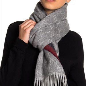 Wool blend Gucci Nikky fringe logo scarf zinc blue